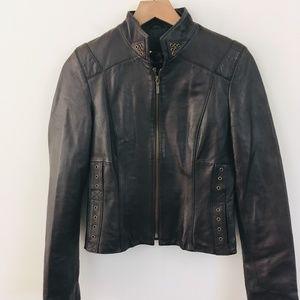 Boston Proper Full Zip 100% Leather Coat